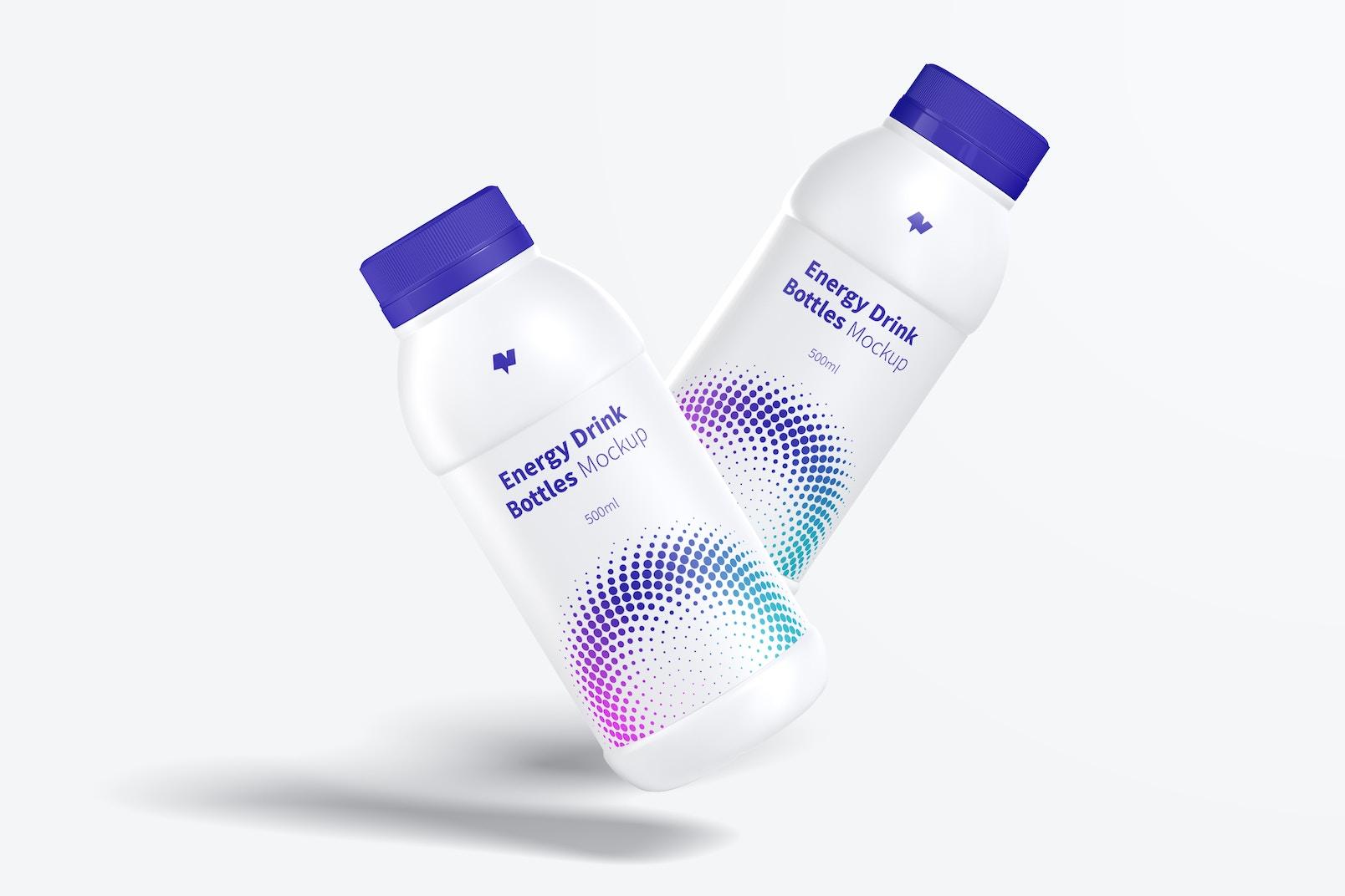 Maqueta de Botellas Plásticas de Bebida Energética, Flotando
