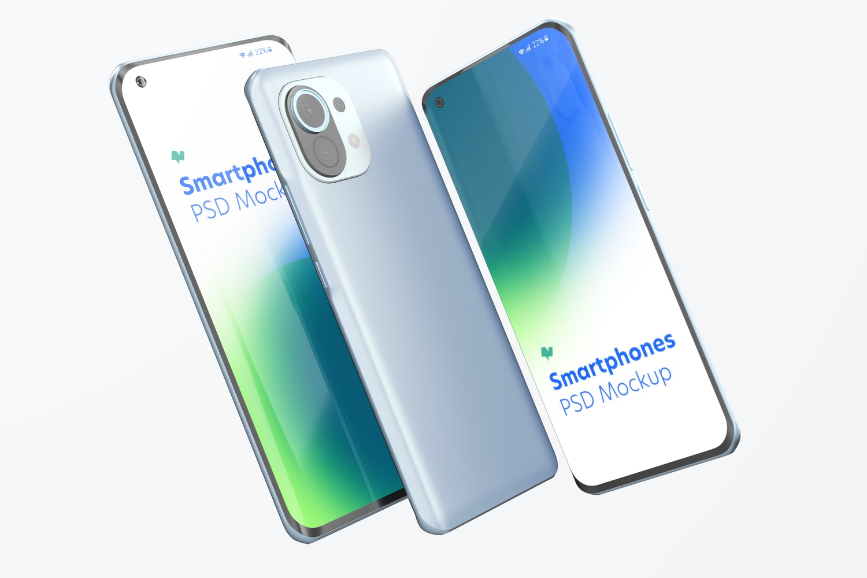 Xiaomi Smartphones Mockup, Floating