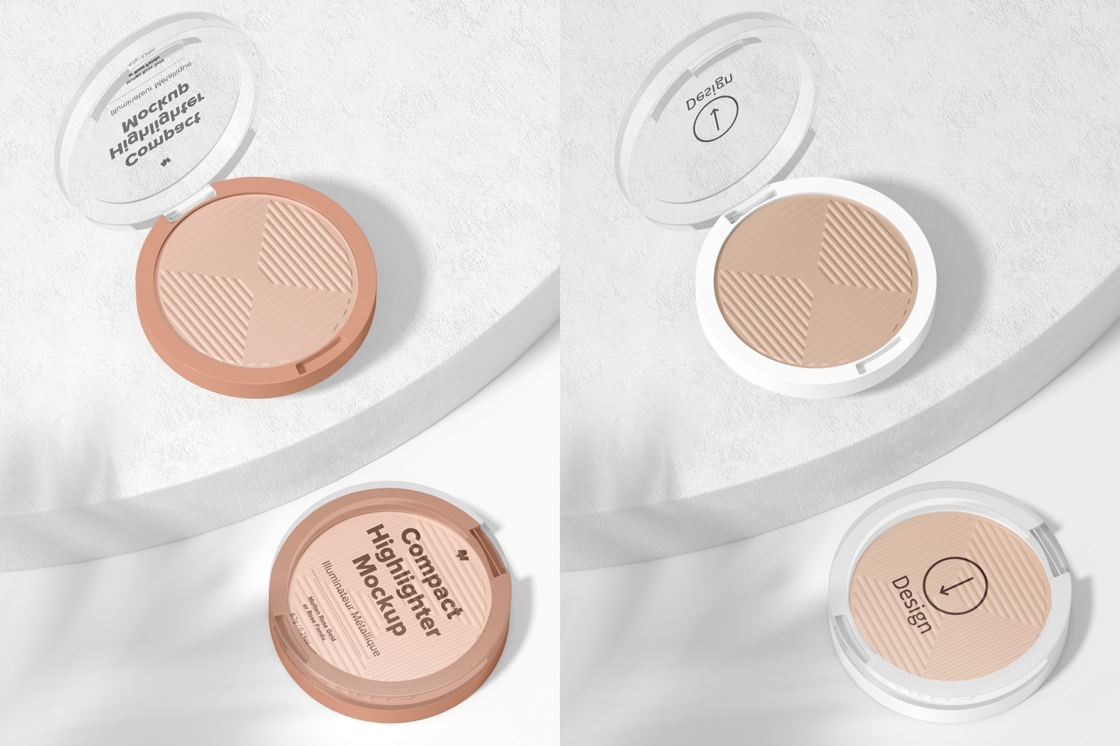 Compact Highlighter Packaging Mockup, Perspective