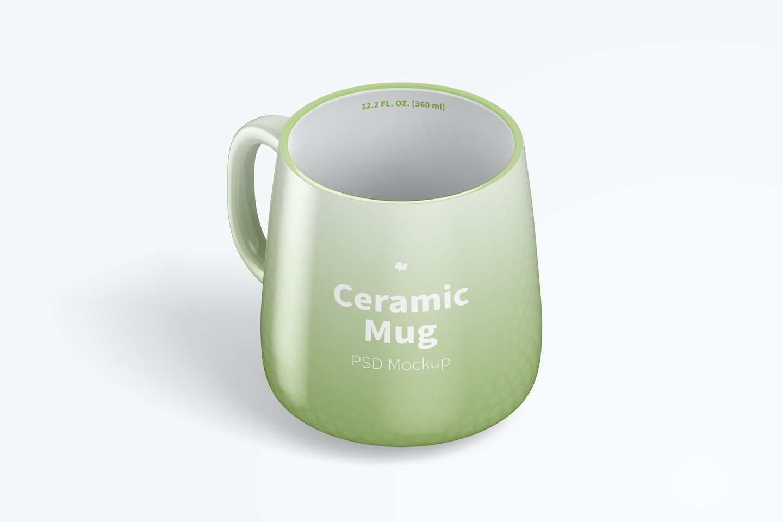12.2 oz Ceramic Mug Mockup, Isometric Left View
