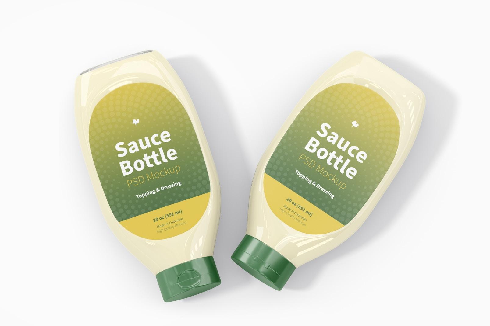 20 oz Sauce Bottle Mockup, Top View