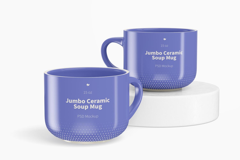 15 oz Jumbo Ceramic Soup Mug Mockup