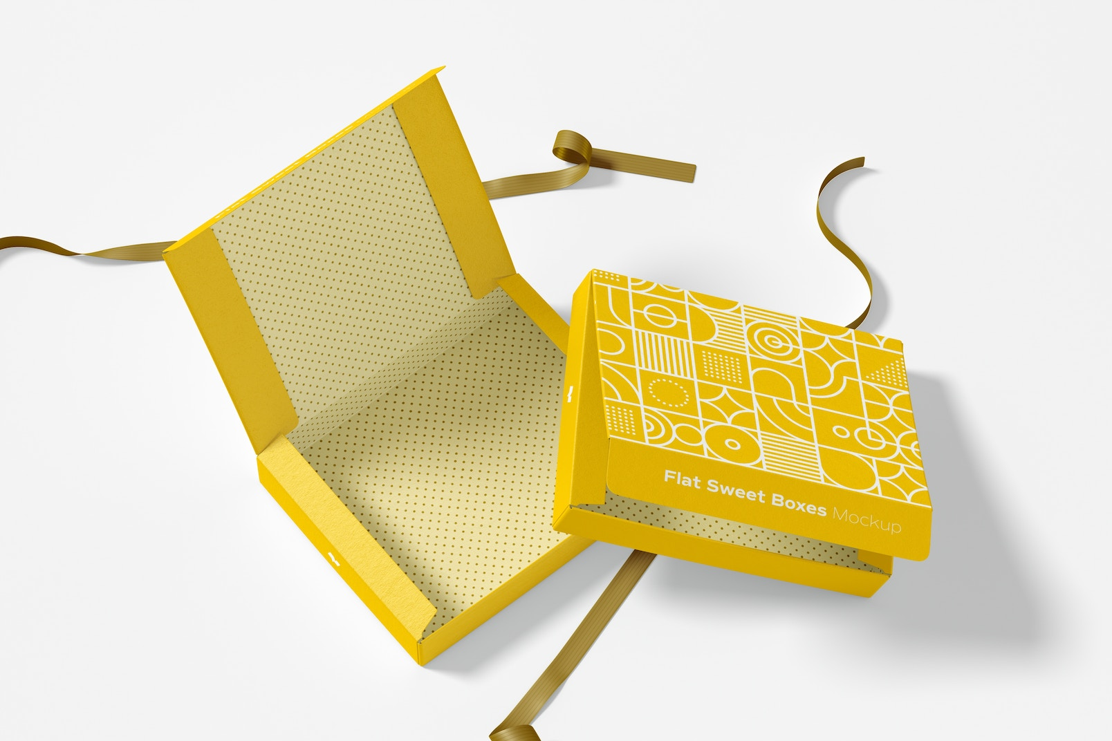 Flat Sweet Boxes with Ribbon Mockup, Opened and Closed