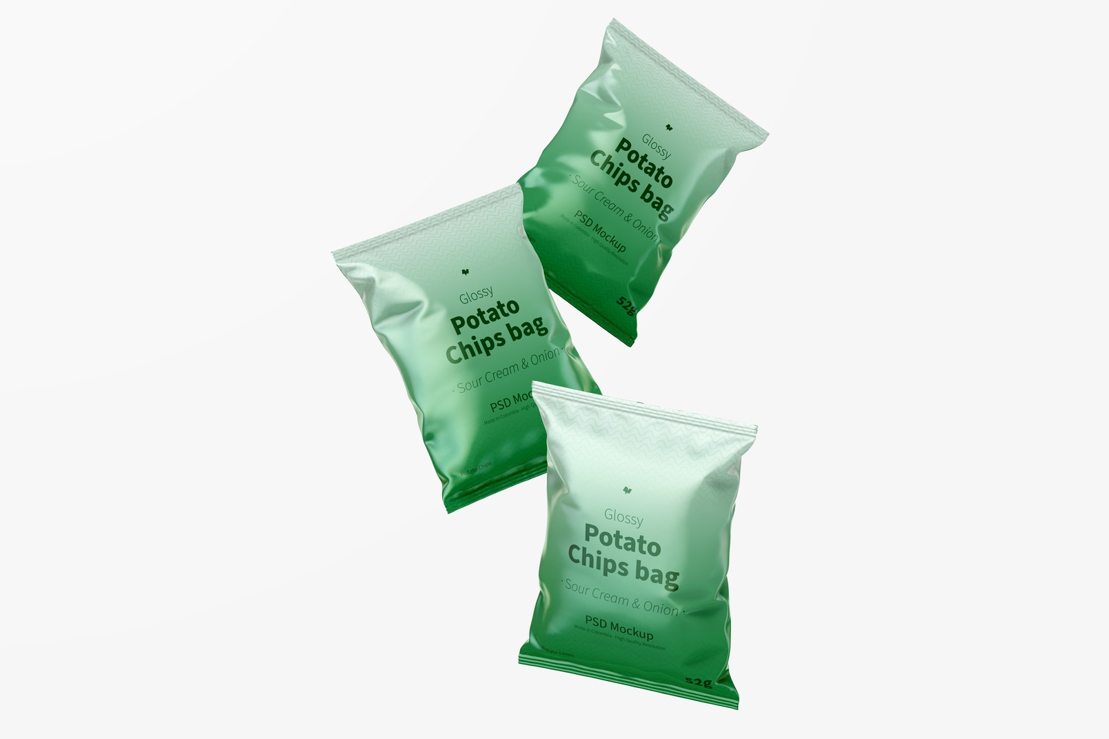 Glossy Chips Bags Mockup, Floating