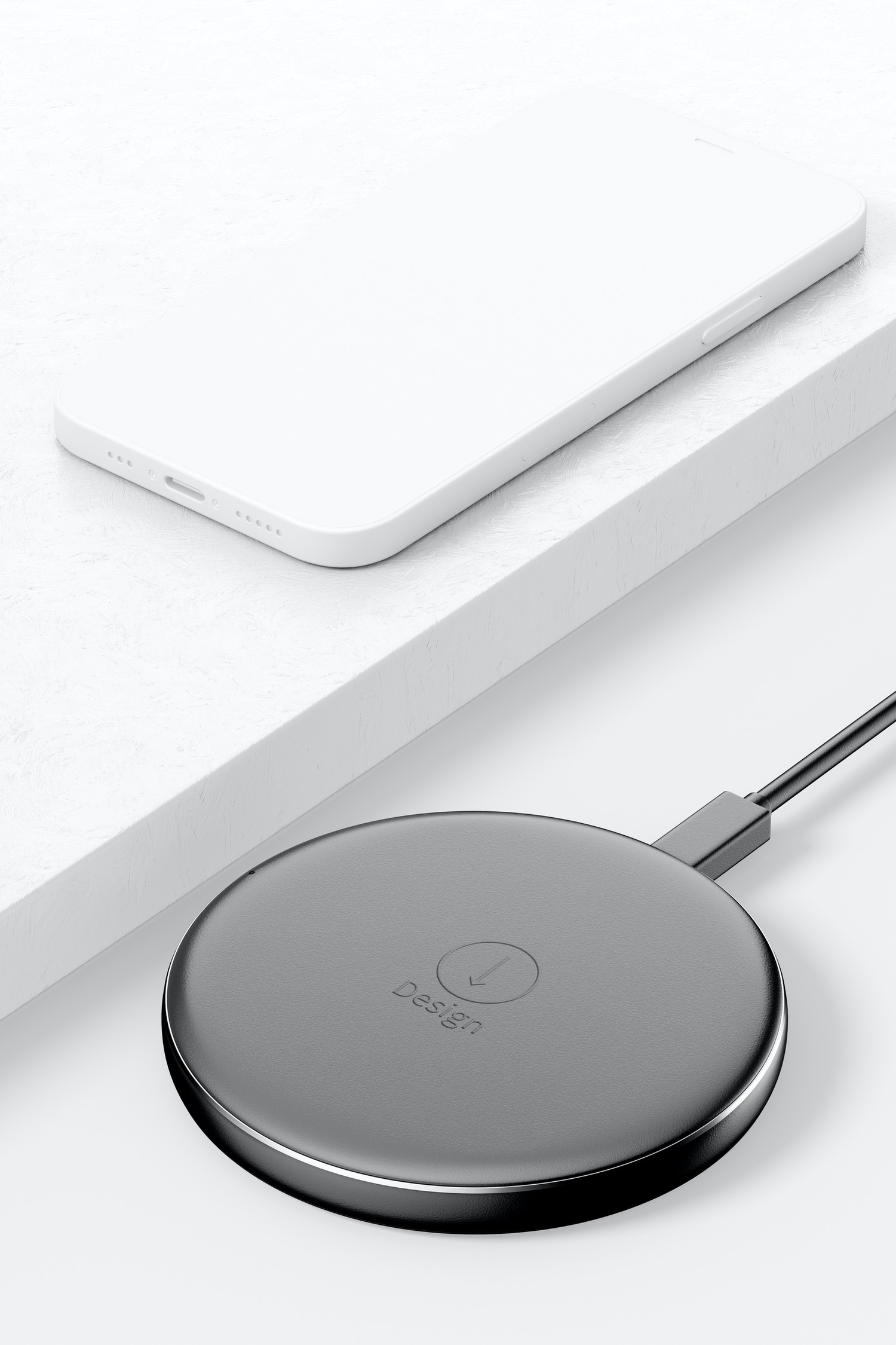 Wireless Charger Mockup, Perspective View