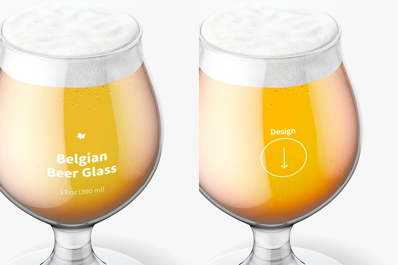 13 oz Belgian Beer Glass Mockup, Close Up