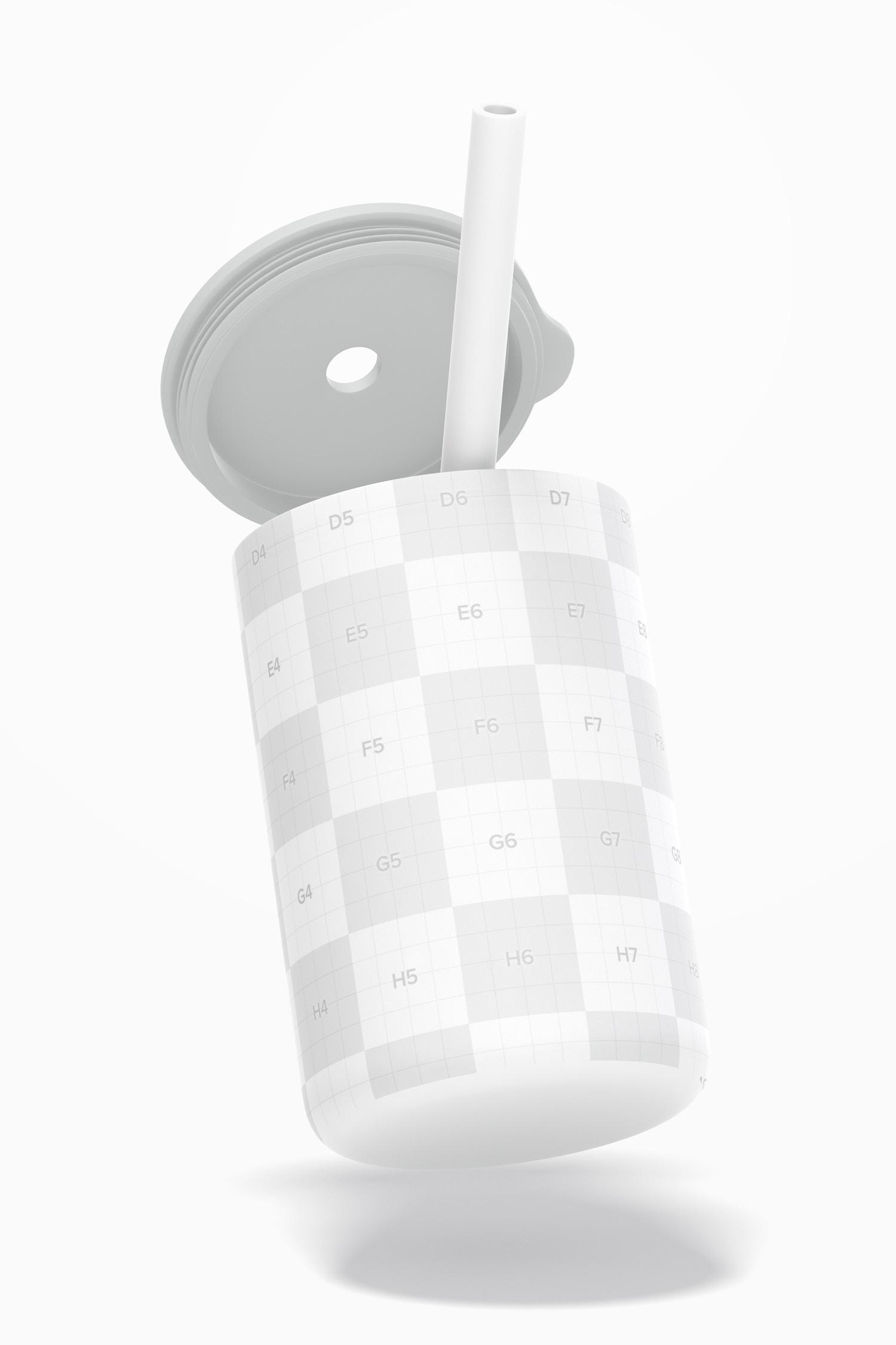 Silicone Baby Mug with Lid Mockup, Floating