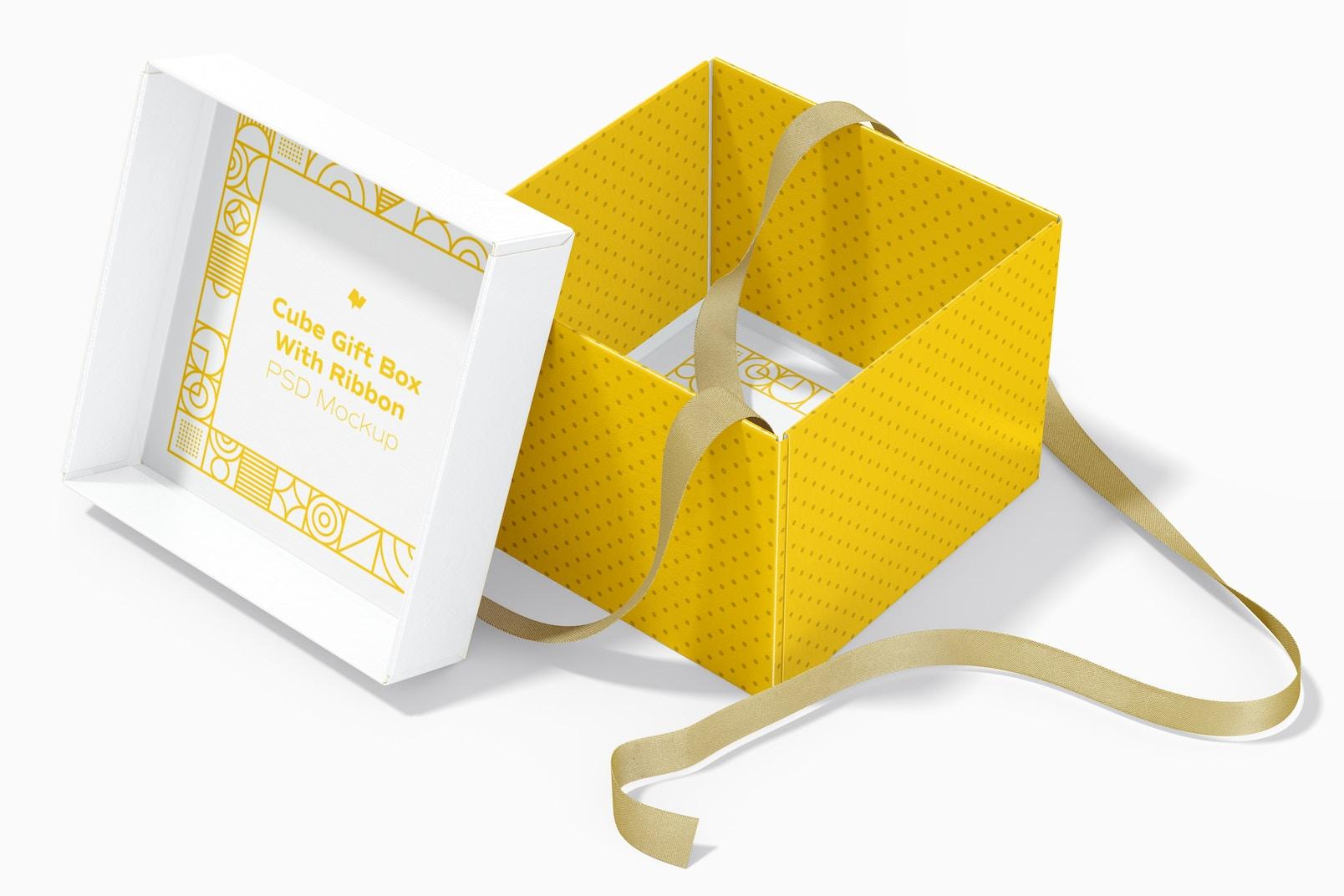 Cube Gift Box With Ribbon Mockup, Interior View