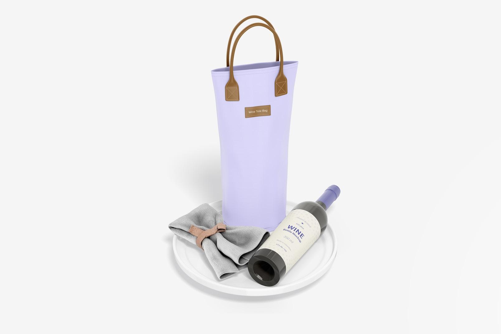 Wine Tote Bag Mockup, Perspective