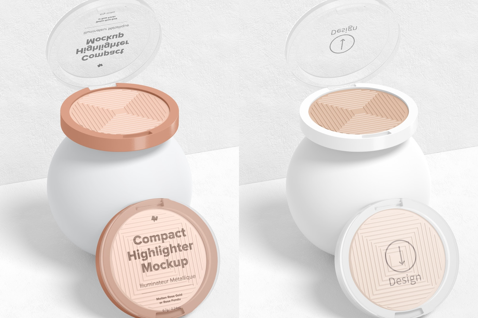 Compact Highlighter Packaging Mockup, Opened and Closed
