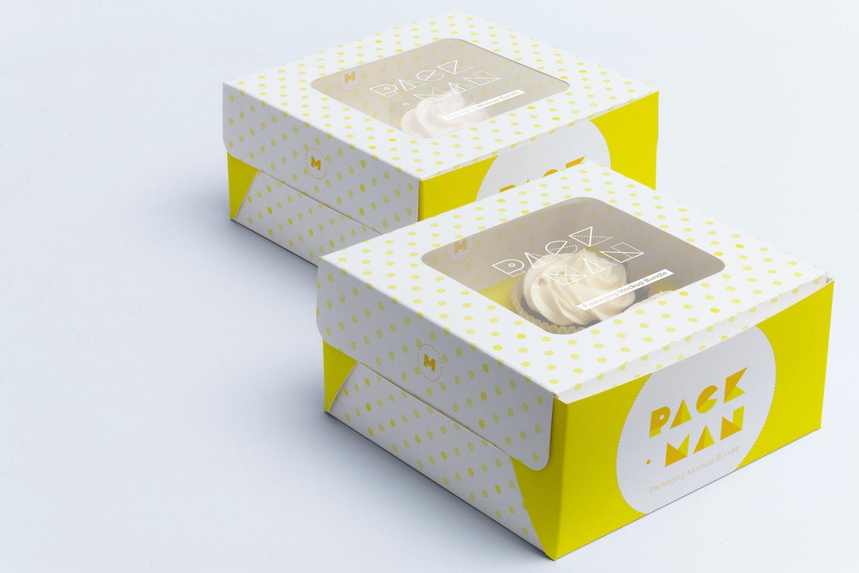 Four Cupcake Box Mockup 03