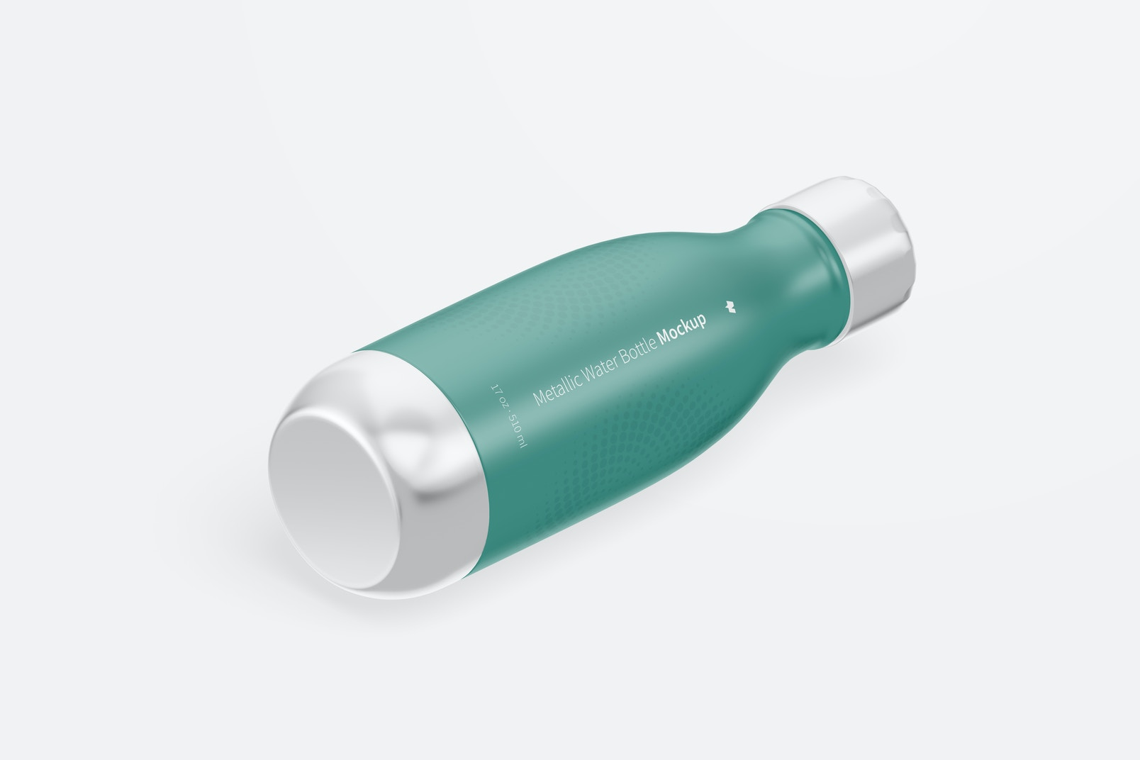 17 oz Metallic Water Bottles Mockup, Isometric Right View