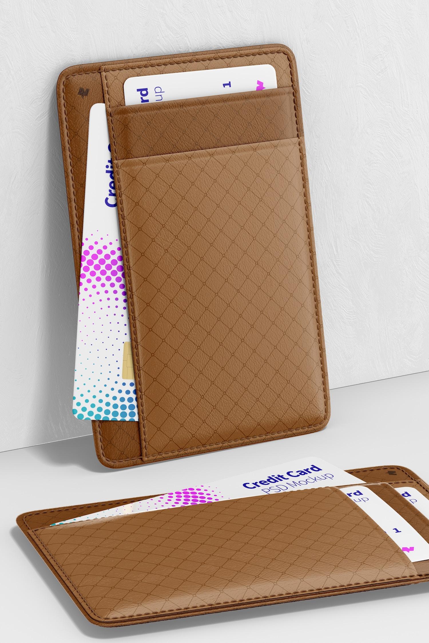 Leather Slim Wallet Mockup, Leaned