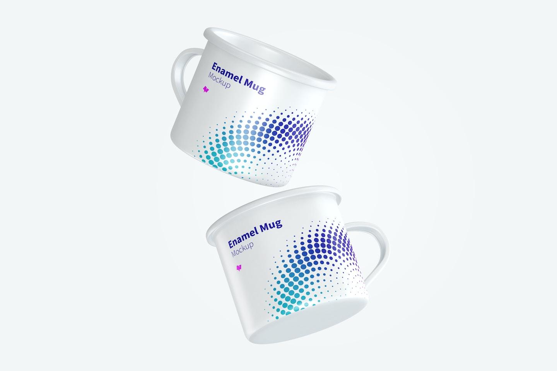 Enamel Mugs Mockup, Floating