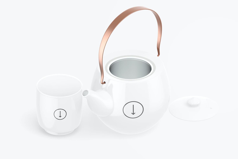 Japanese Ceramic Tea Set Mockup, Isometric Left View
