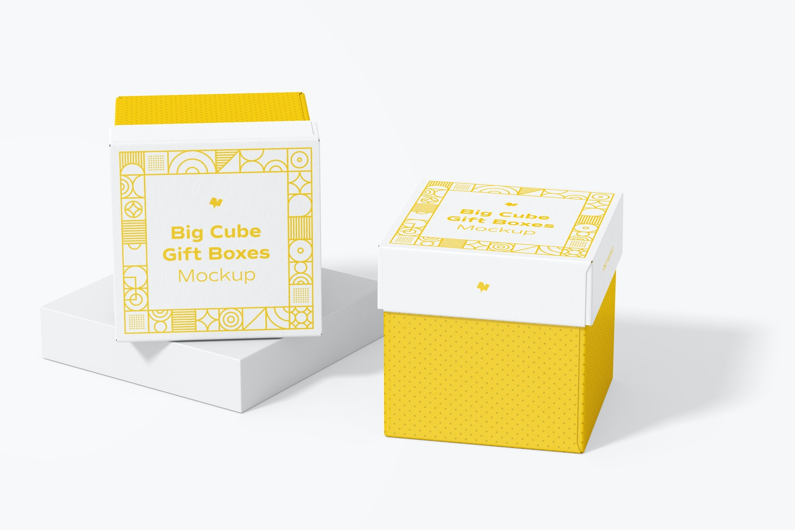 Big Cube Gift Boxes Mockup, Perspective