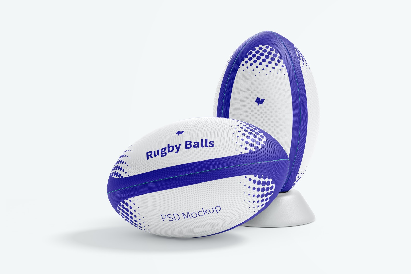 Rugby Balls Mockup, Front and Behind