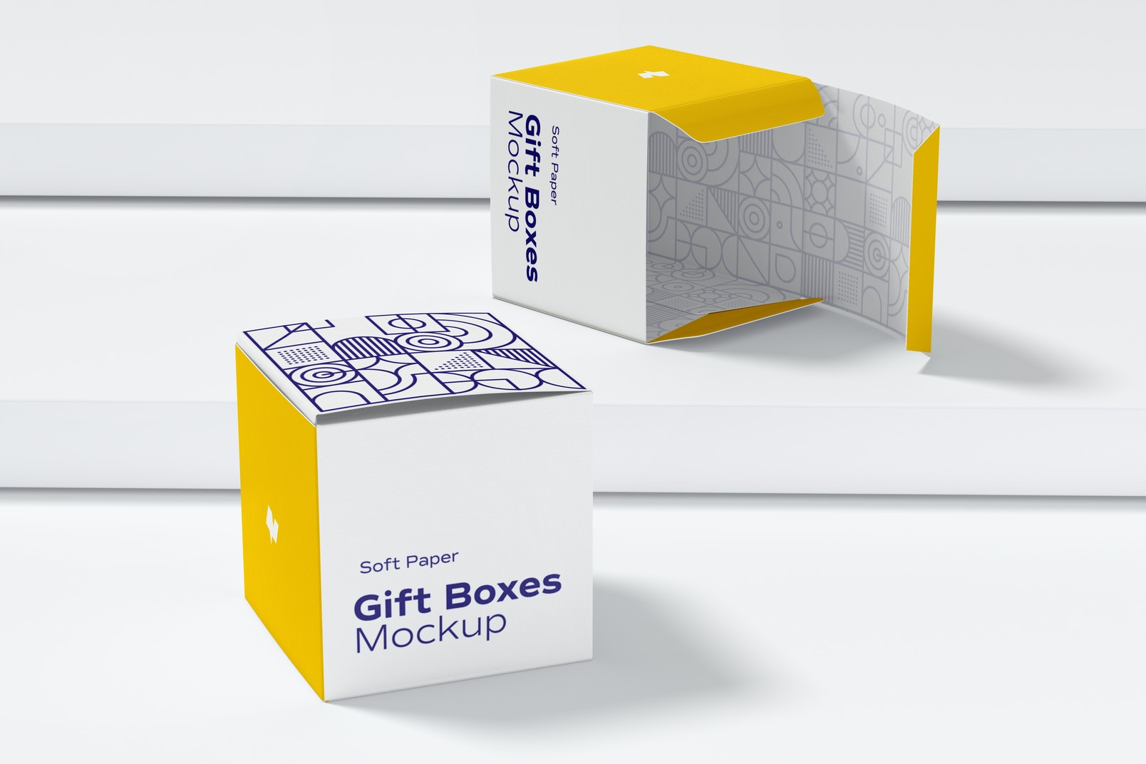 Soft Paper Gift Boxes Mockup, Perspective