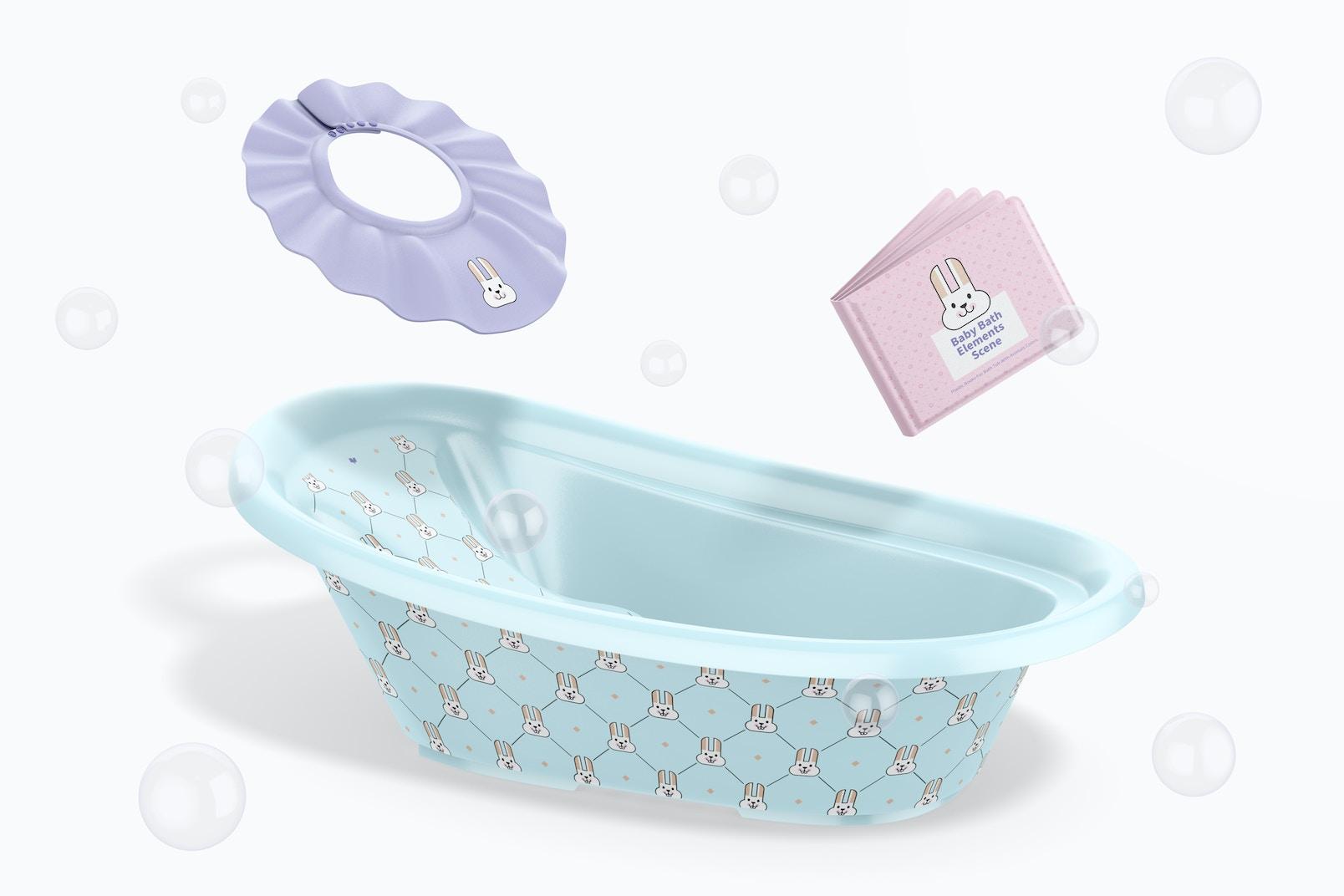 Baby Bath Elements Scene Mockup, Falling