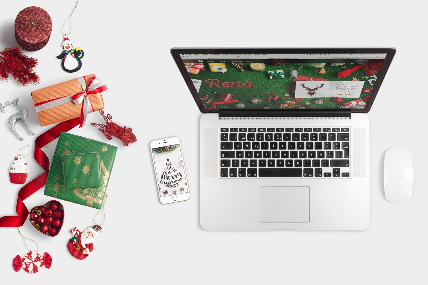 Christmas Header And Hero Scene Mockup 07 by Original Mockups on Original Mockups