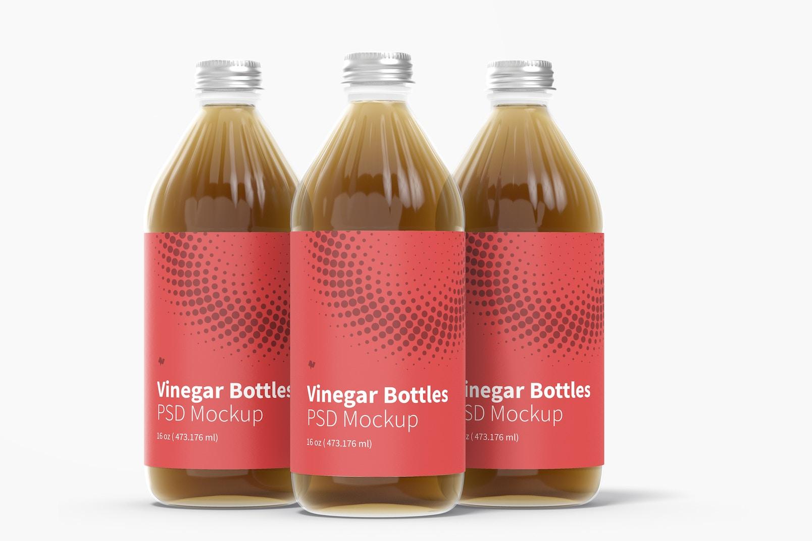 16 oz Glass Vinegar Bottle Set Mockup