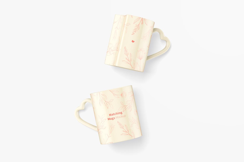 Matching Mugs Mockup, Top View