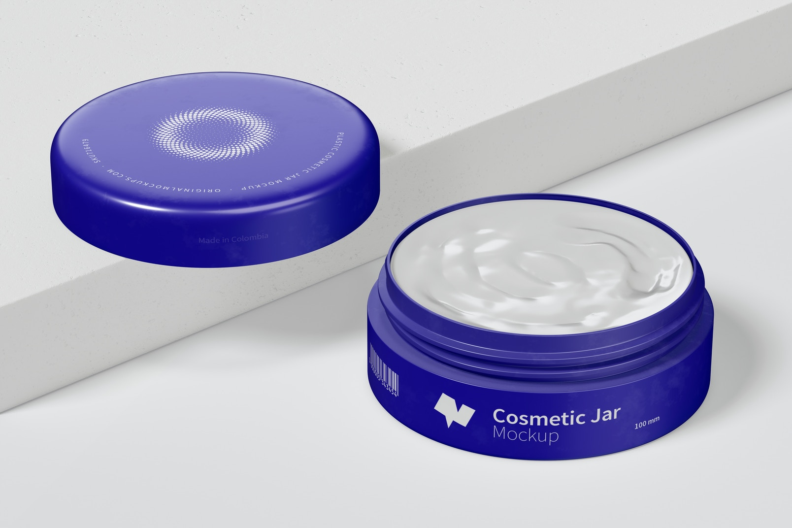 100mm Plastic Cosmetic Jar Mockup Opened