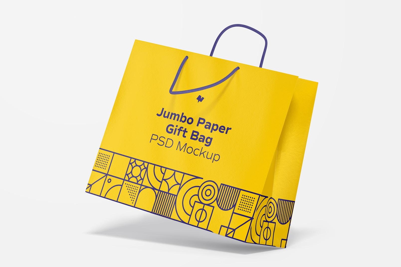 Jumbo Paper Gift Bag With Rope Handle Mockup, Perspective