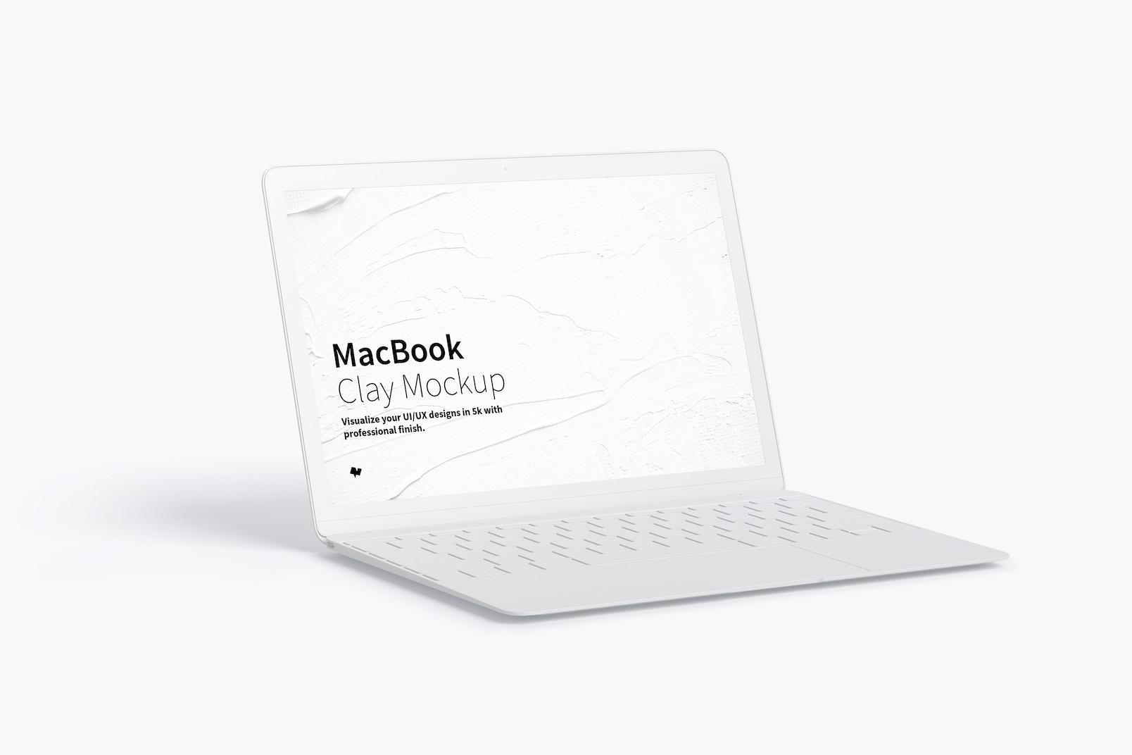 Clay MacBook Mockup, Left View