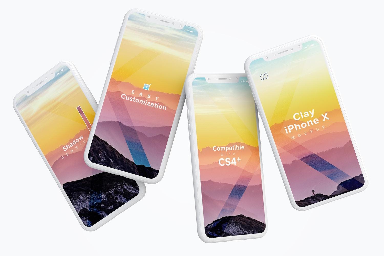 Clay iPhone X Mockup 06