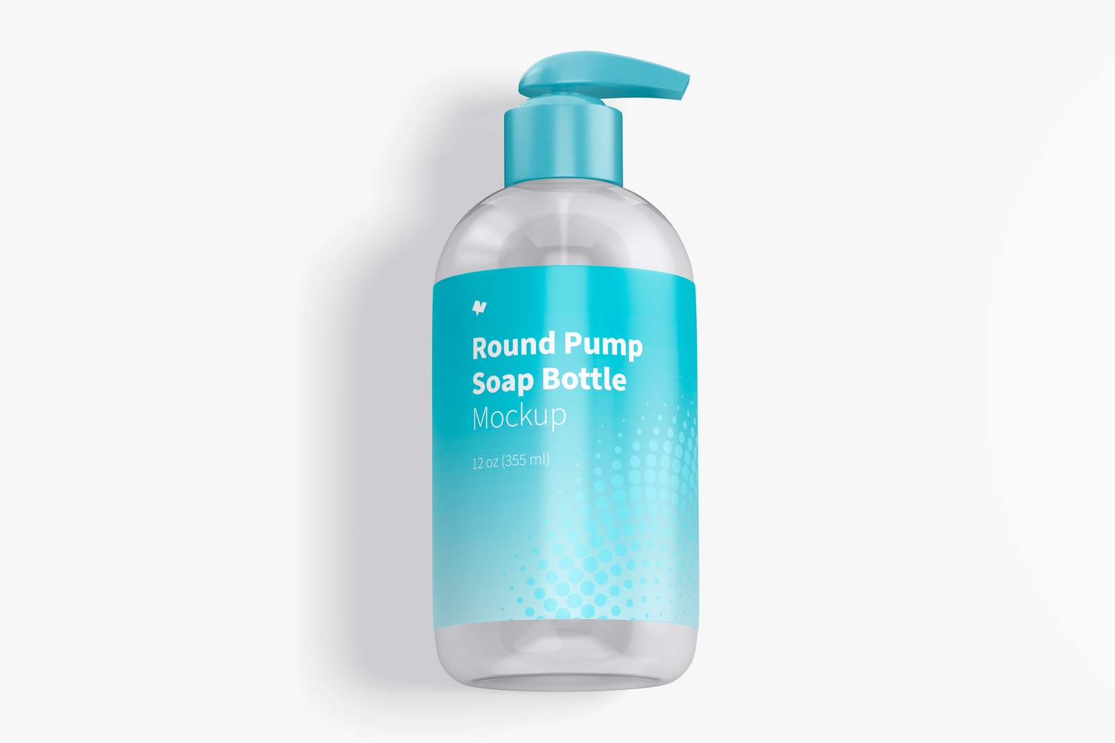 Round Pump Soap Bottle Mockup, Top View