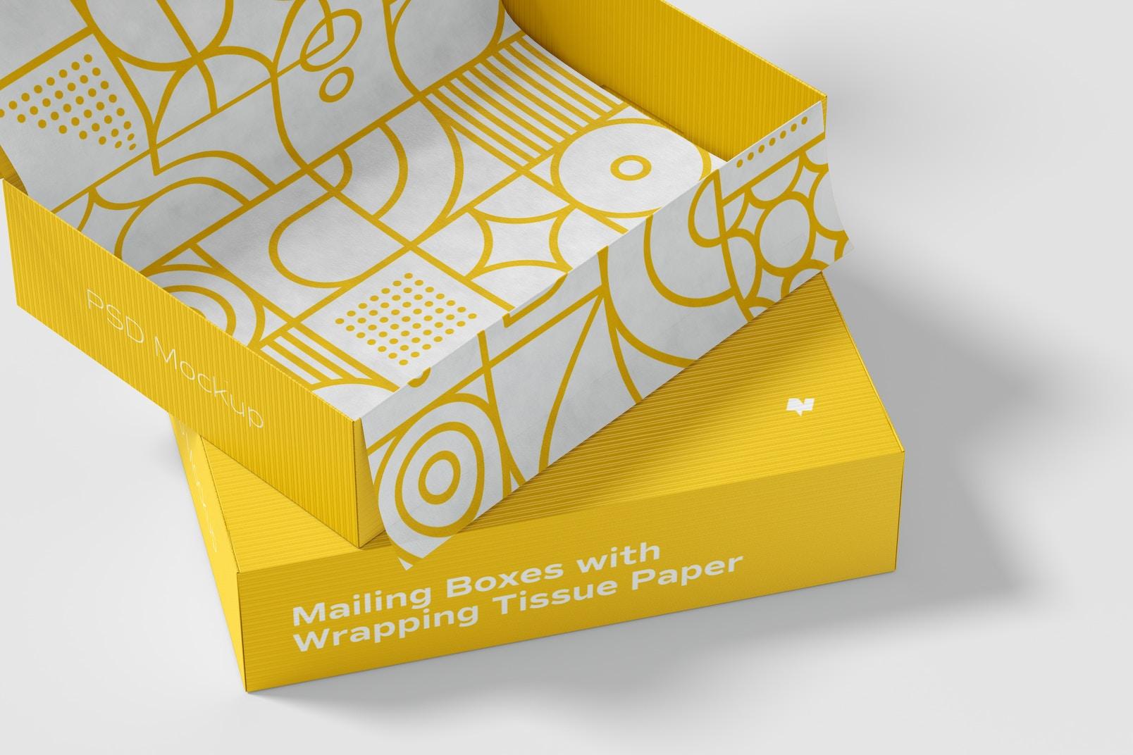 Maqueta de Cajas Para Envío con Papel de Envoltura, Primer Plano