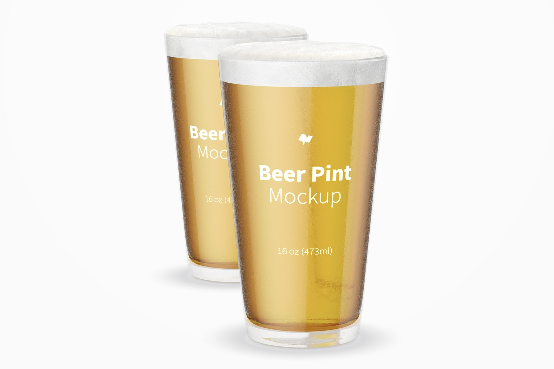 16 oz Beer Pints Mockup
