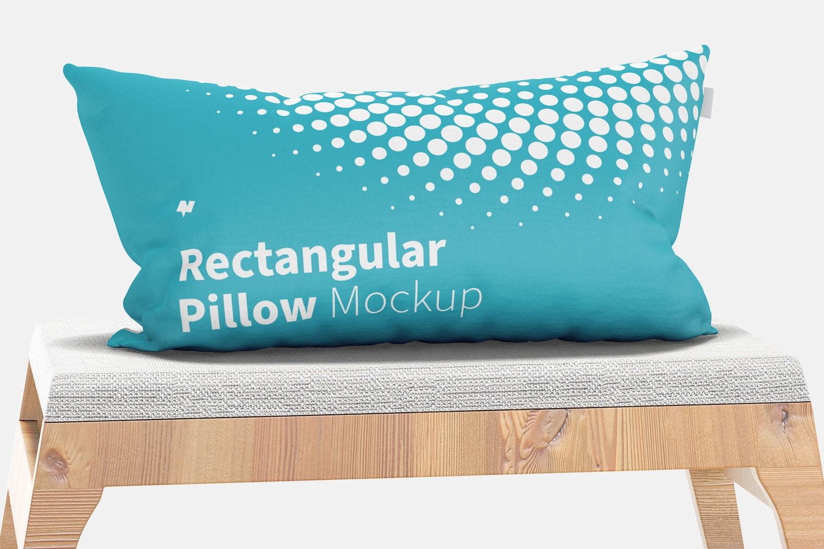 Rectangular Pillow Mockup, Front View