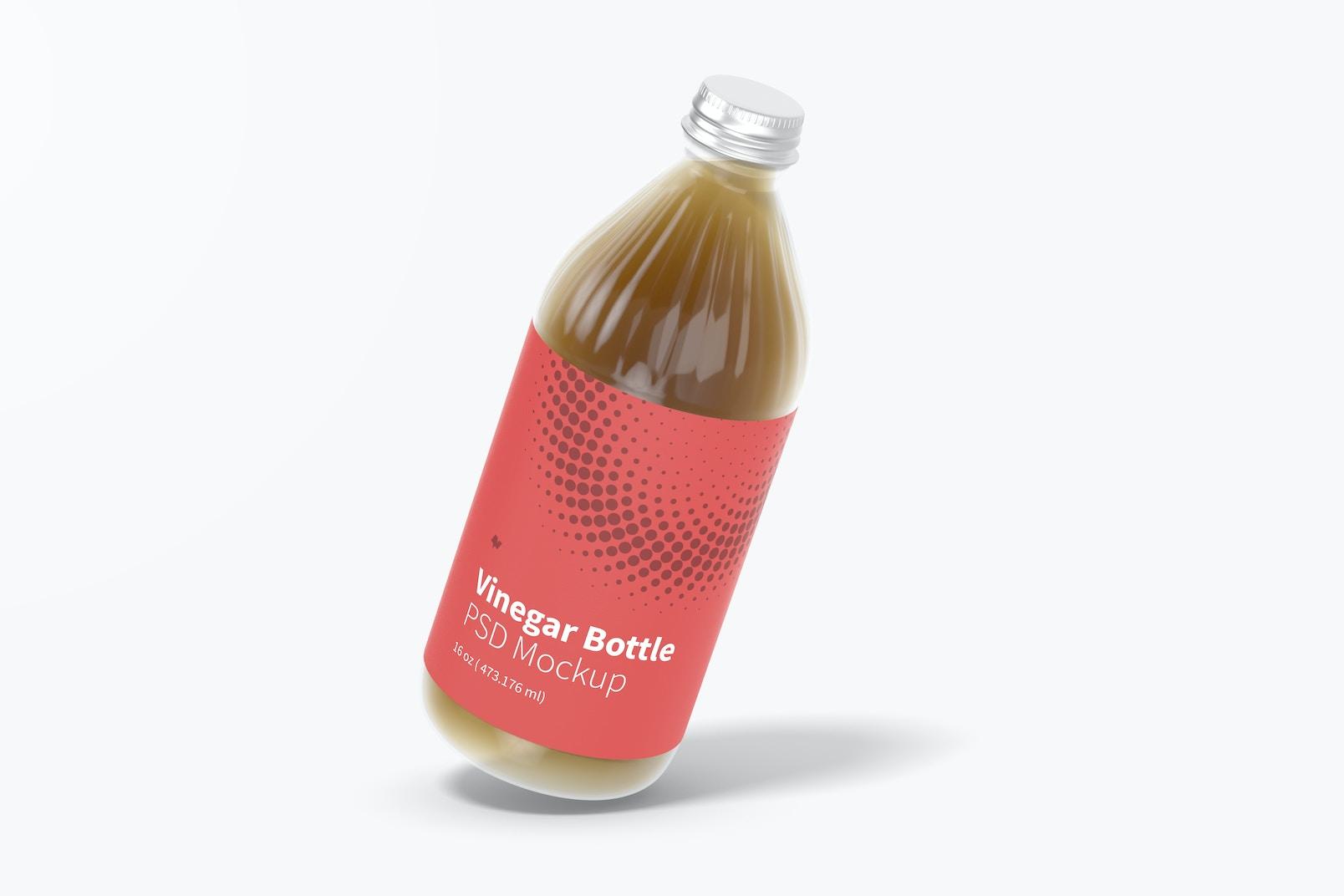 16 oz Glass Vinegar Bottle Mockup, Floating