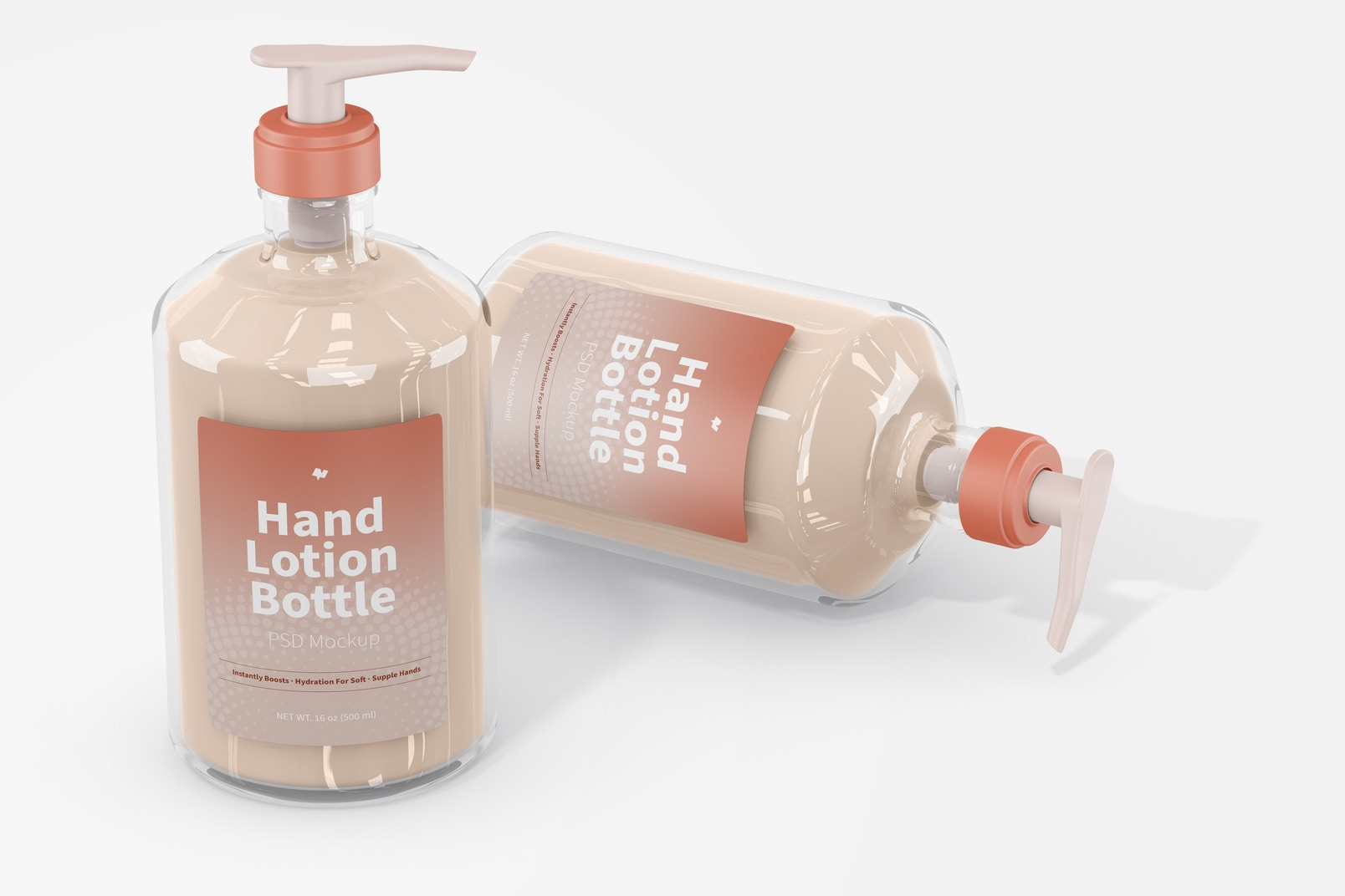 500 ml Hand Lotion Bottle Mockup, Standing and Dropped