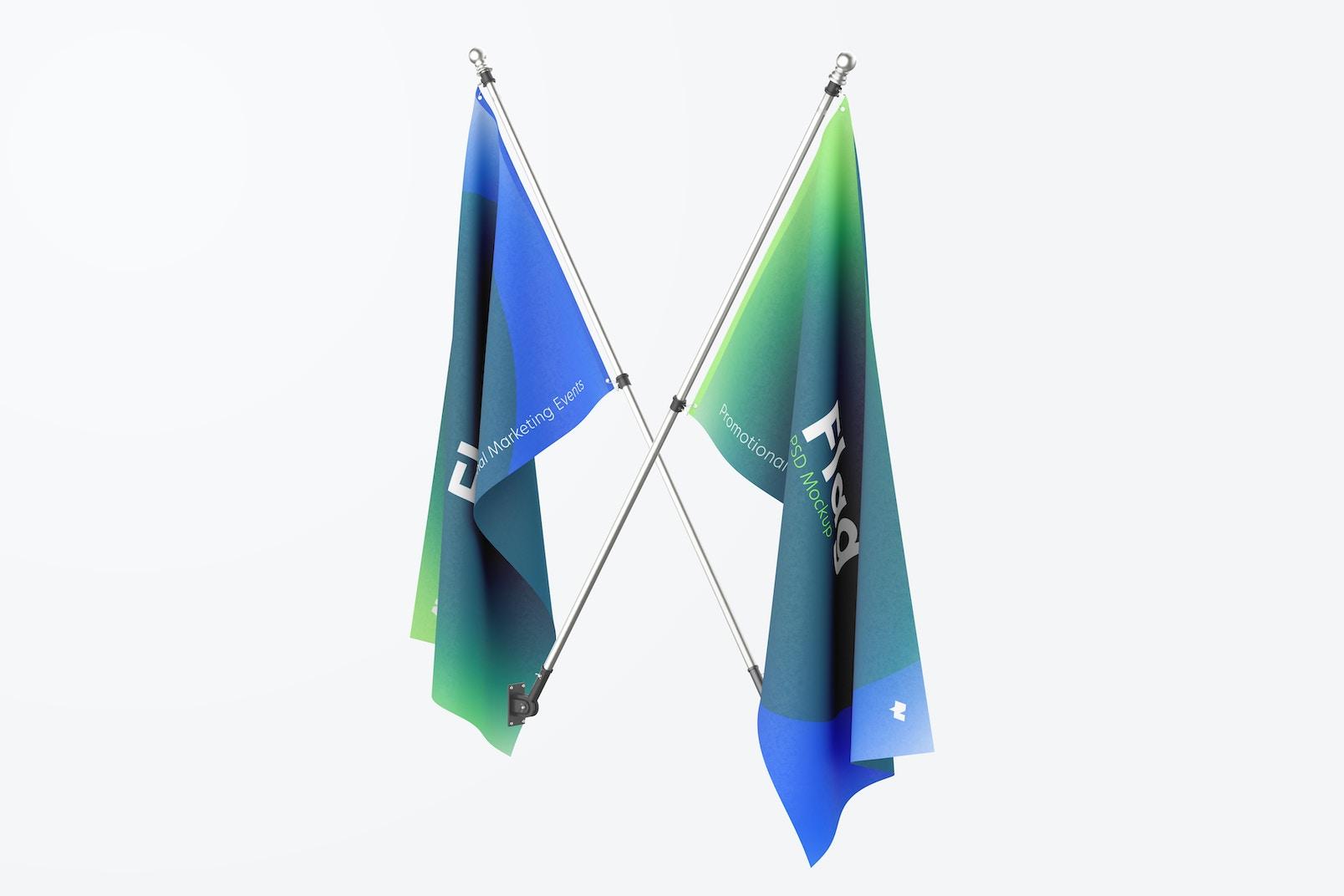 Flags Mockup, Crossed