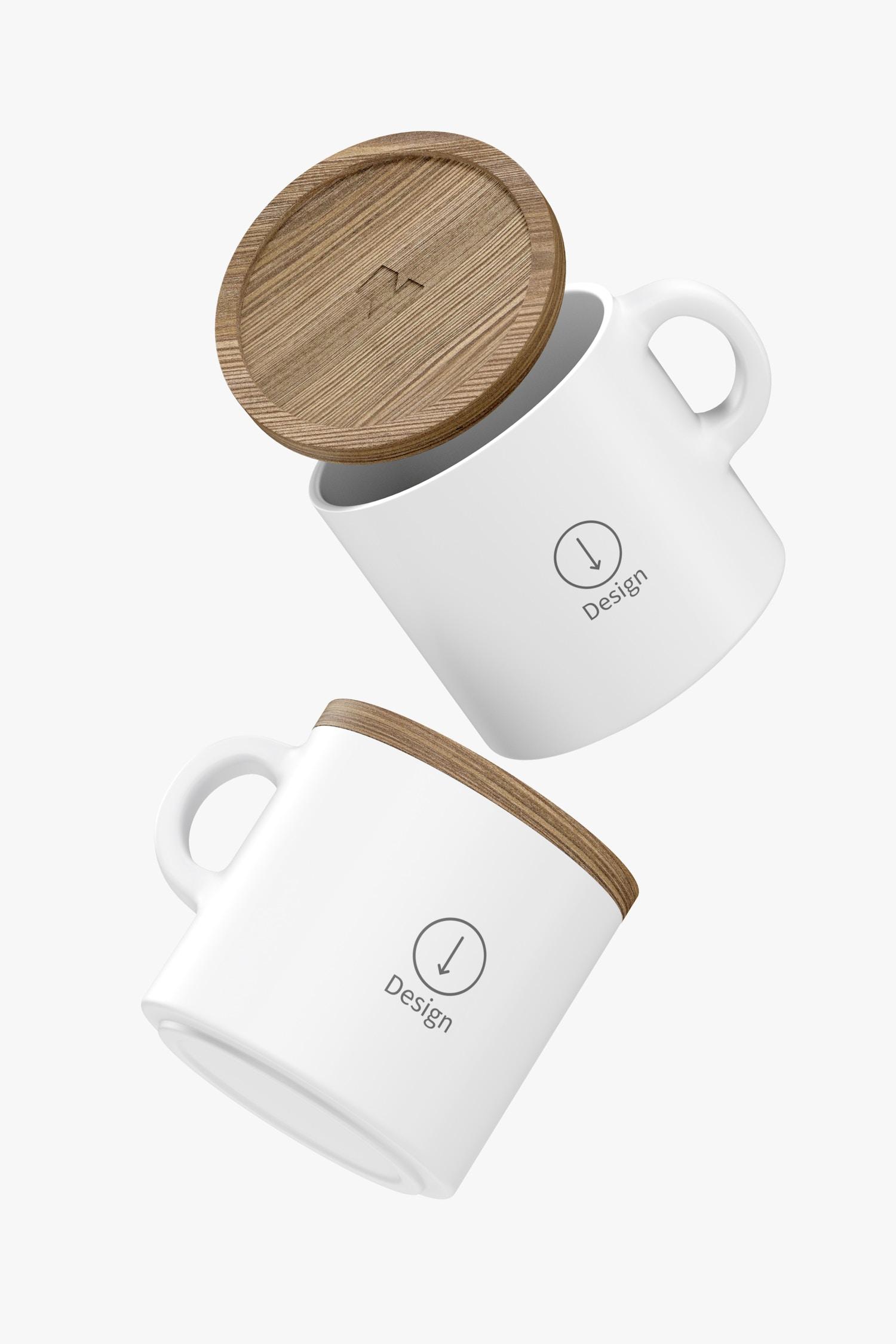 10 oz Ceramic Mugs with Bamboo Lid Mockup, Floating
