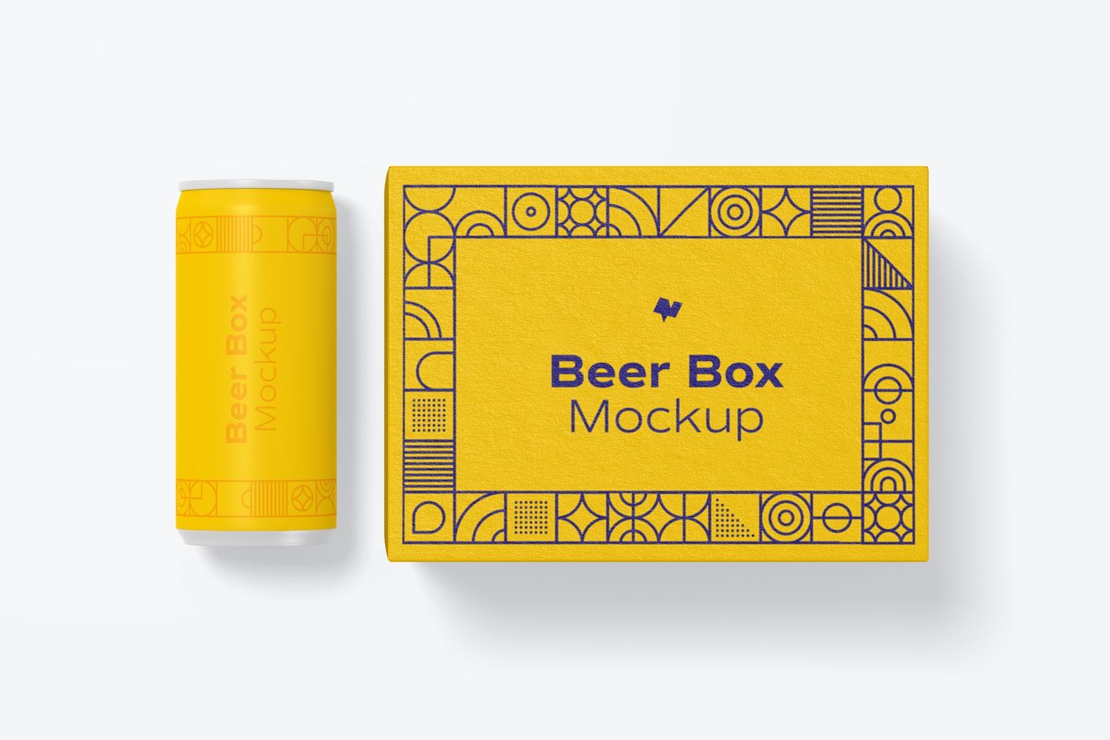 Beer Box Mockup, Top View