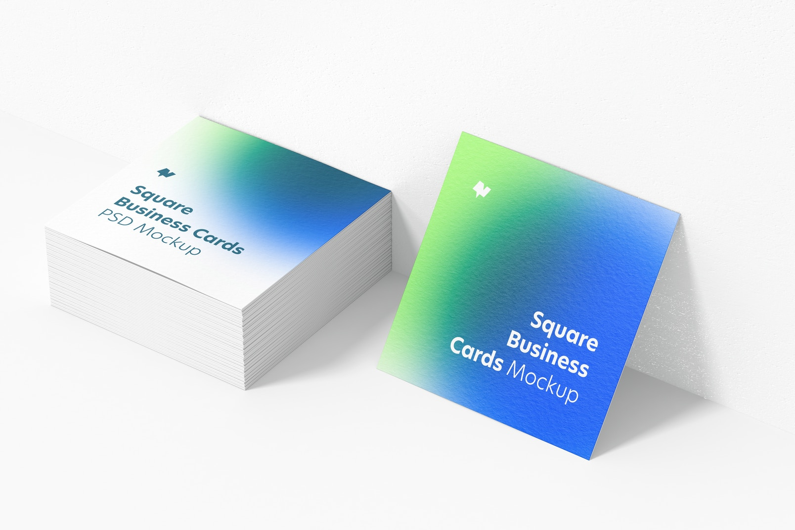 Square Business Cards Mockup, Stacked Set