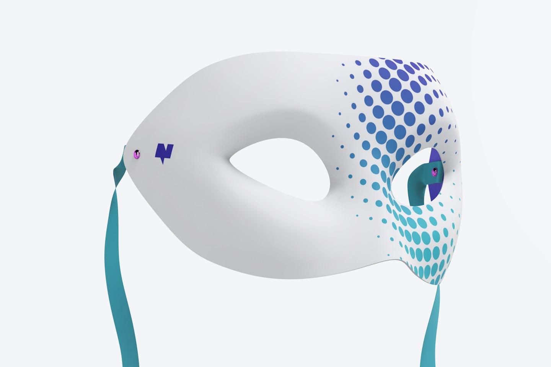 Plain Venetian Half-Face Mask Mockup, Floating