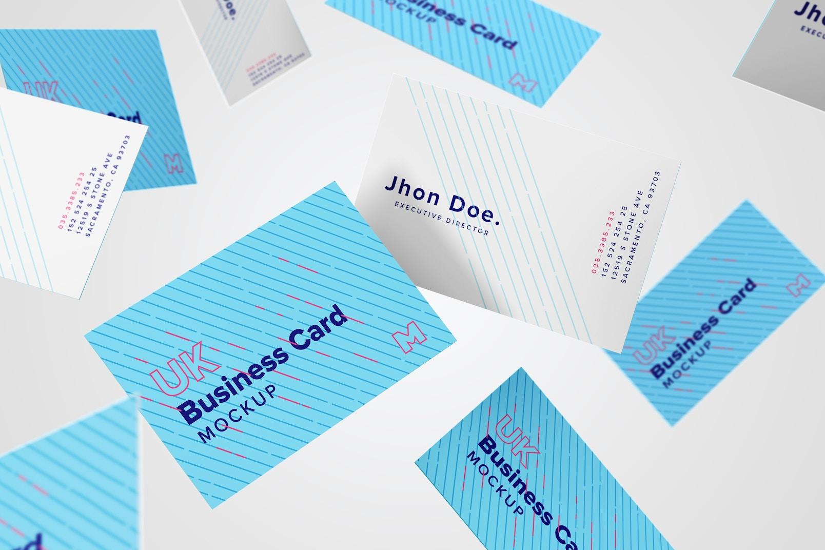 Maqueta de tarjetas de presentación formato UK 10