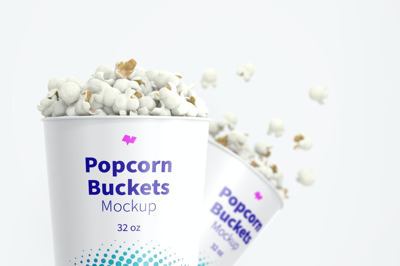 32 oz Popcorn Buckets Mockup, Close-Up