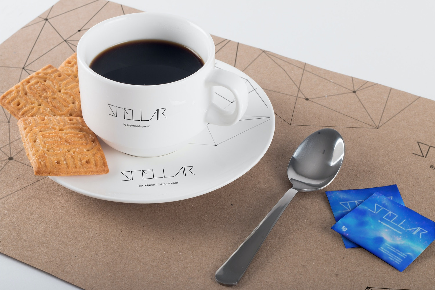 Coffee Cup and Placemat Mockup 01 por Original Mockups en Original Mockups
