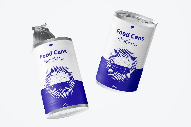 580g Food Cans Mockup, Floating