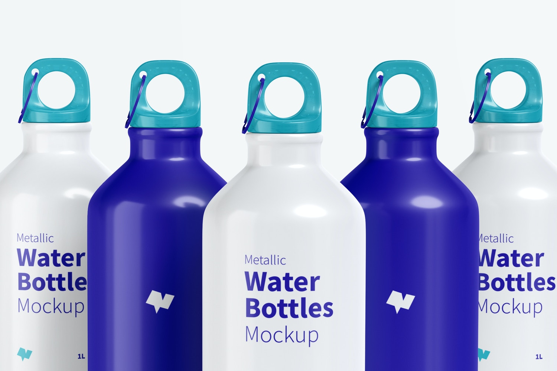 Metallic Water Bottles Set Mockup