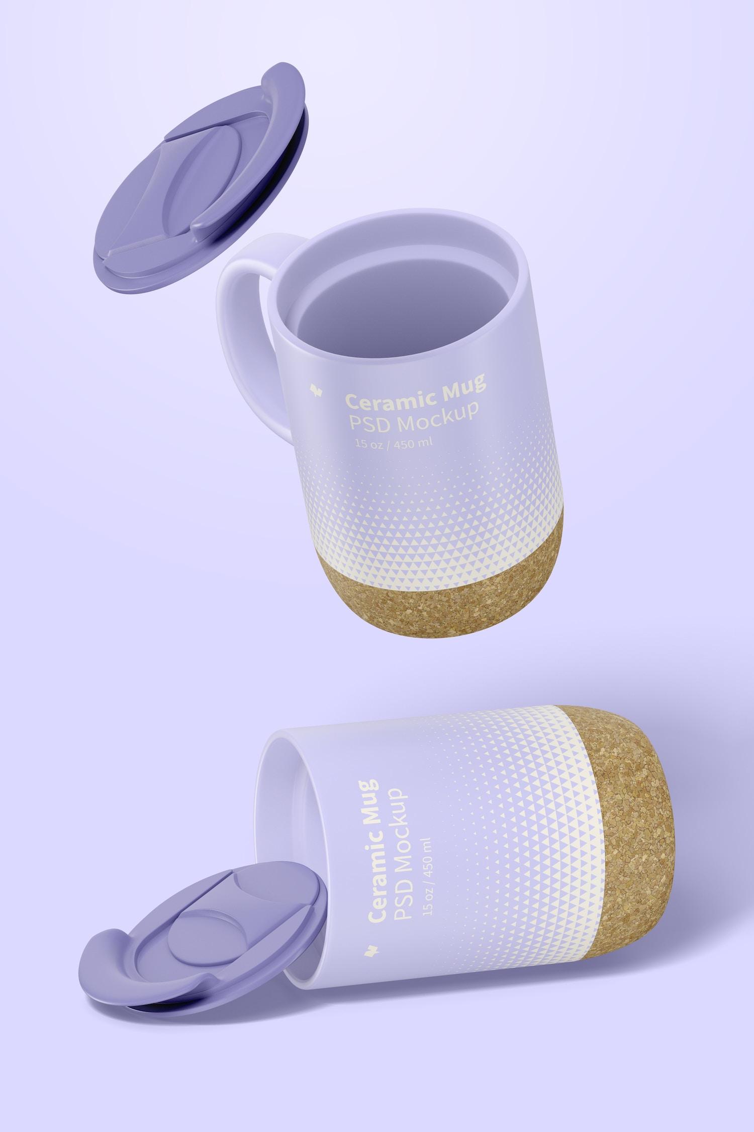 15 oz Ceramic Mug with Lid Mockup, Opened