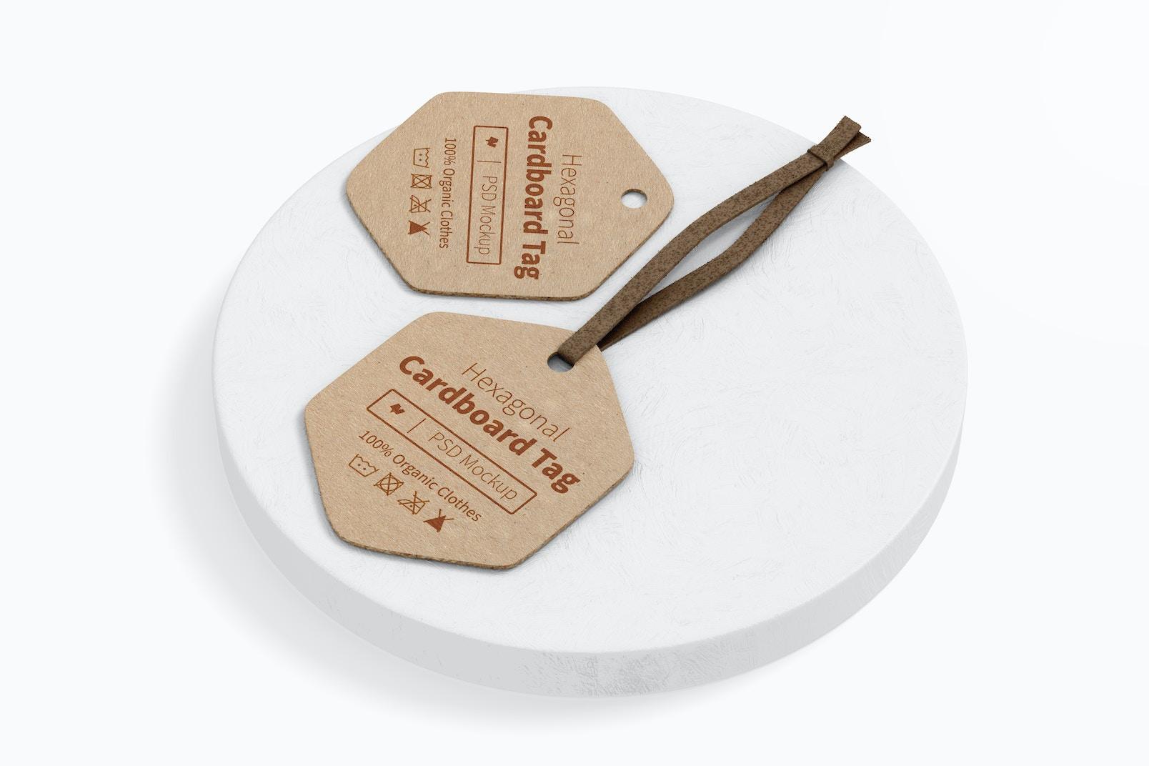 Hexagonal Cardboard Tag Mockup