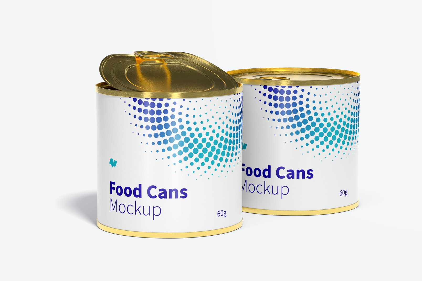 60g Food Cans Mockup, Opened and Closed