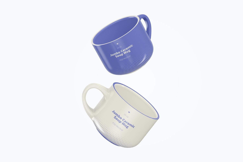 15 oz Jumbo Ceramic Soup Mug Mockup, Falling